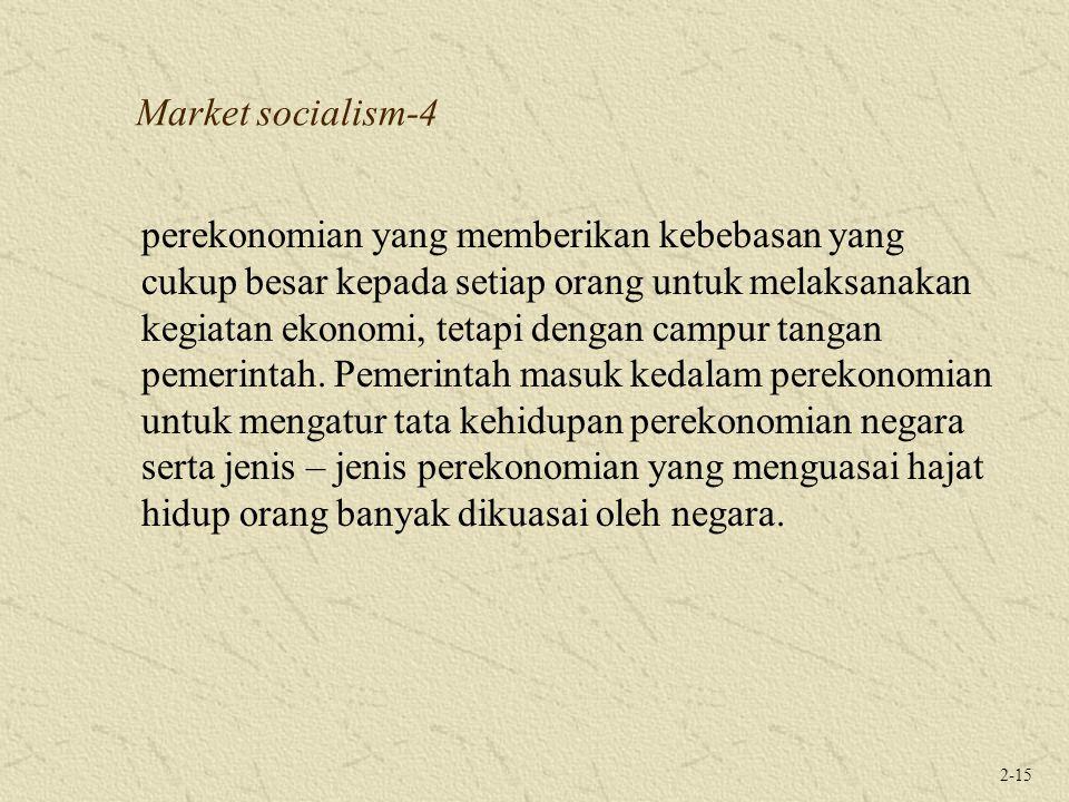 2-15 Market socialism-4 perekonomian yang memberikan kebebasan yang cukup besar kepada setiap orang untuk melaksanakan kegiatan ekonomi, tetapi dengan campur tangan pemerintah.