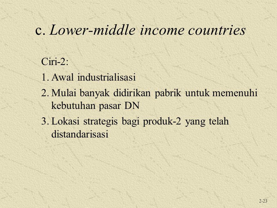 2-23 c. Lower-middle income countries Ciri-2: 1.Awal industrialisasi 2.Mulai banyak didirikan pabrik untuk memenuhi kebutuhan pasar DN 3.Lokasi strate
