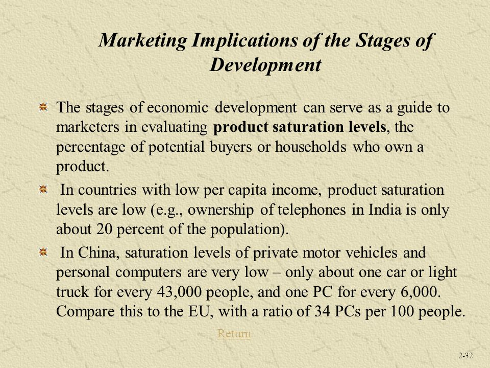 2-32 Marketing Implications of the Stages of Development The stages of economic development can serve as a guide to marketers in evaluating product sa