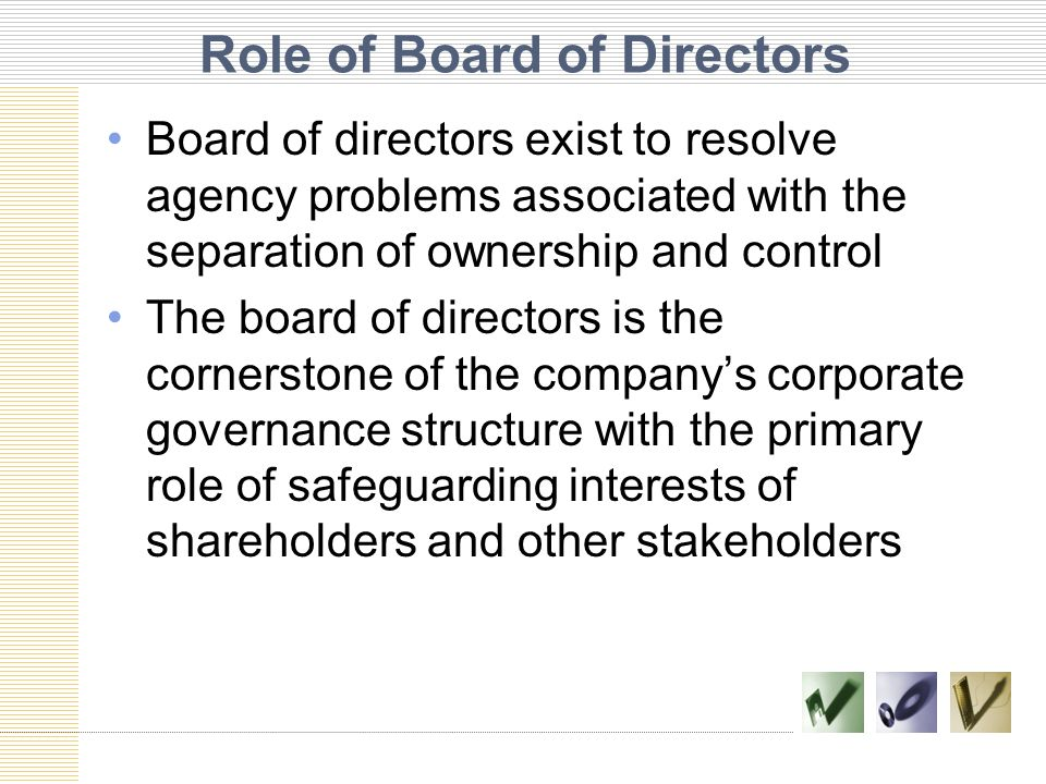 Fiduciary Duties of Board of Directors Fiduciary duty means, as shareholders' guardians, directors must be trustworthy, acting in the best interest of shareholders, and investors in turn have confidence in the directors' actions