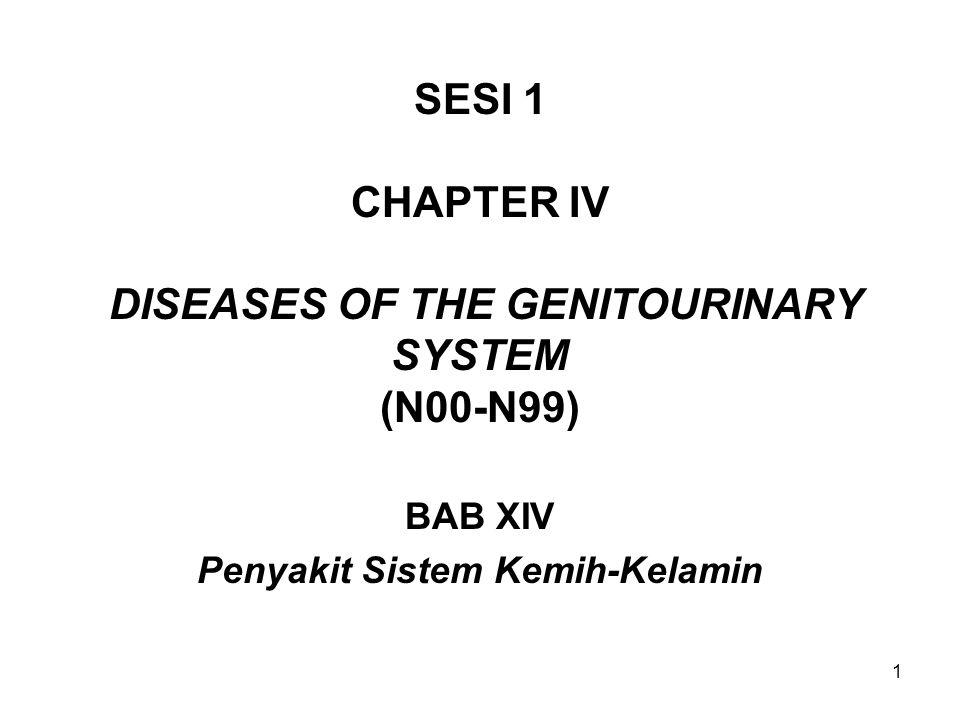 22 Contoh istilah gangguan ginjal: (Lanjutan-2) 10.Infeksi saluran kemih karena Escherichia coli (E Coli) (Escherichia coli urinary tract infection) N39.0 B96.2 11.Gagal ginjal stadium akhir (End-stage renal failure) N18.0 12.Penyempitan uretra akibat infeksi (Urethral stricture due to infection) N35.1 13.Sistitis kronik (Chronic cystitis) N30.2 14.Batu tanduk rusa ginjal (Staghorn calculus of kidney) N20.0 15.Fimosis (Phimosis) N47 16.Perawatan karena sering abortus(Habitual abortion, Investigation or care in a non-pretgnant woman) N96