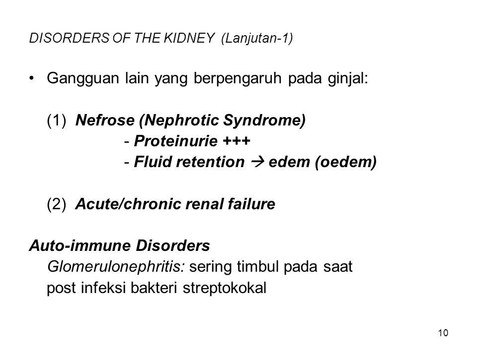 10 DISORDERS OF THE KIDNEY (Lanjutan-1) Gangguan lain yang berpengaruh pada ginjal: (1) Nefrose (Nephrotic Syndrome) - Proteinurie +++ - Fluid retenti