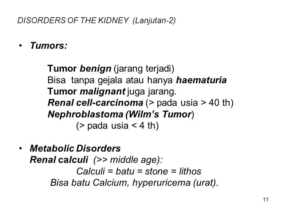 11 DISORDERS OF THE KIDNEY (Lanjutan-2) Tumors: Tumor benign (jarang terjadi) Bisa tanpa gejala atau hanya haematuria Tumor malignant juga jarang. Ren