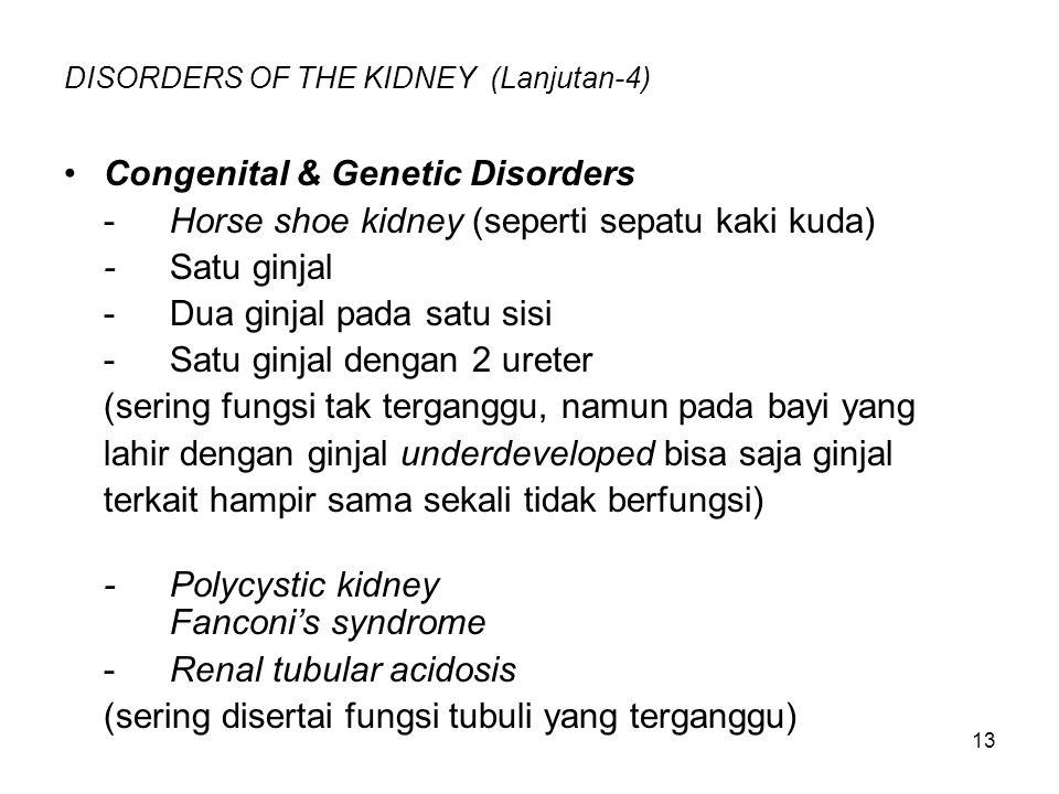 13 DISORDERS OF THE KIDNEY (Lanjutan-4) Congenital & Genetic Disorders -Horse shoe kidney (seperti sepatu kaki kuda) -Satu ginjal -Dua ginjal pada sat