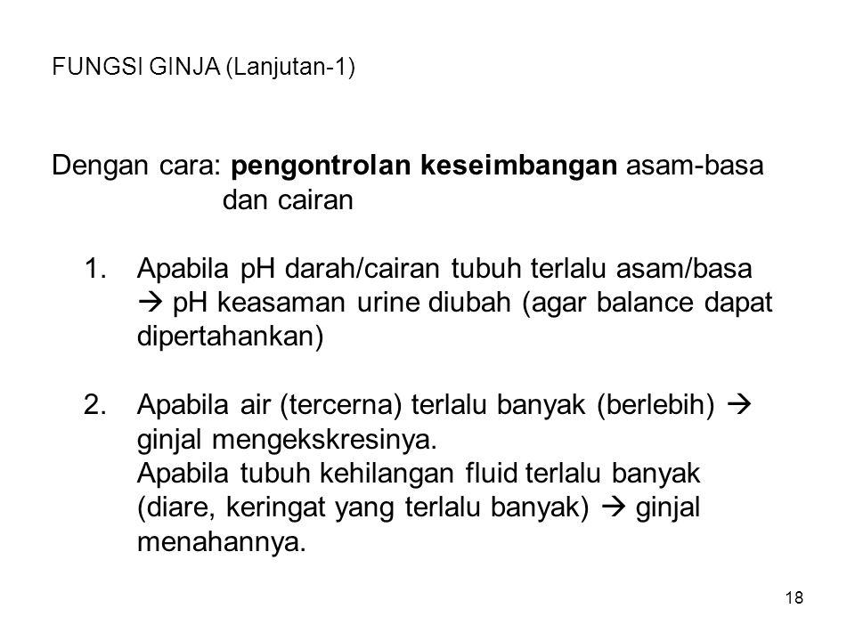 18 FUNGSI GINJA (Lanjutan-1) Dengan cara: pengontrolan keseimbangan asam-basa dan cairan 1.Apabila pH darah/cairan tubuh terlalu asam/basa  pH keasam