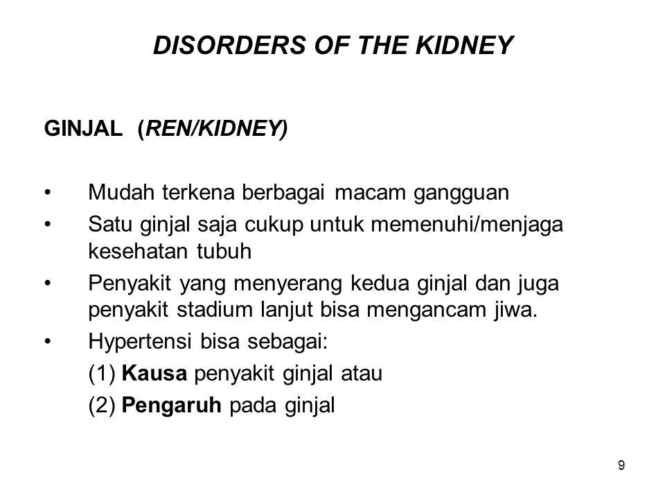 9 DISORDERS OF THE KIDNEY GINJAL (REN/KIDNEY) Mudah terkena berbagai macam gangguan Satu ginjal saja cukup untuk memenuhi/menjaga kesehatan tubuh Peny