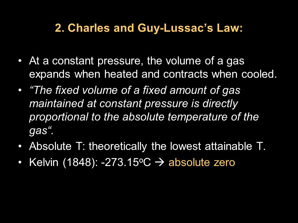 "2. Charles and Guy-Lussac's Law: At a constant pressure, the volume of a gas expands when heated and contracts when cooled. ""The fixed volume of a fix"