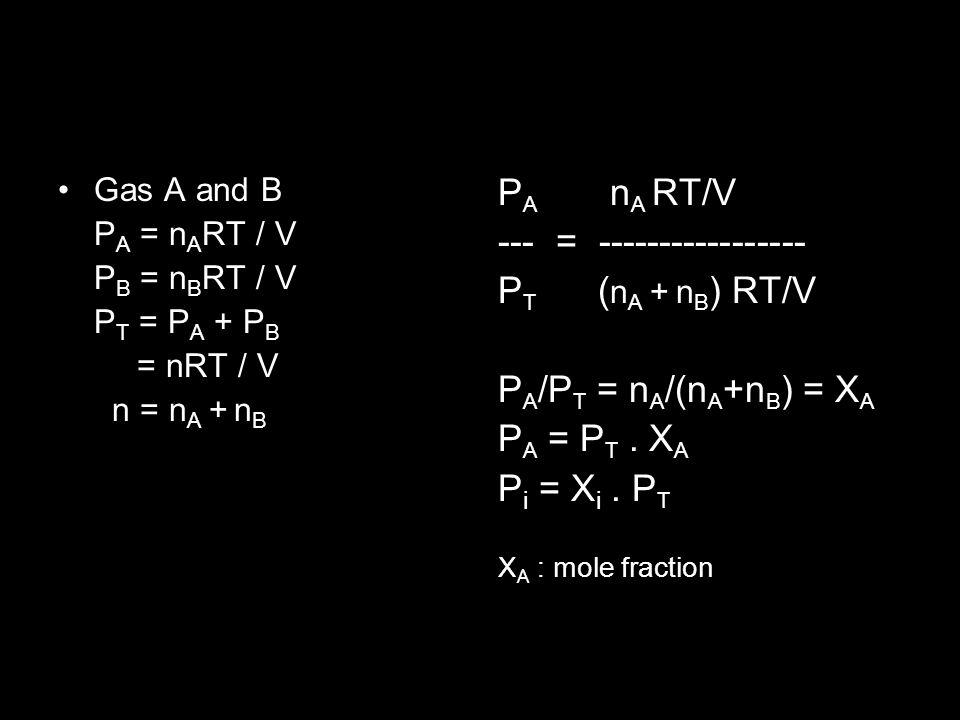 Gas A and B P A = n A RT / V P B = n B RT / V P T = P A + P B = nRT / V n = n A + n B P A n A RT/V --- = ----------------- P T ( n A + n B ) RT/V P A /P T = n A /(n A +n B ) = X A P A = P T.