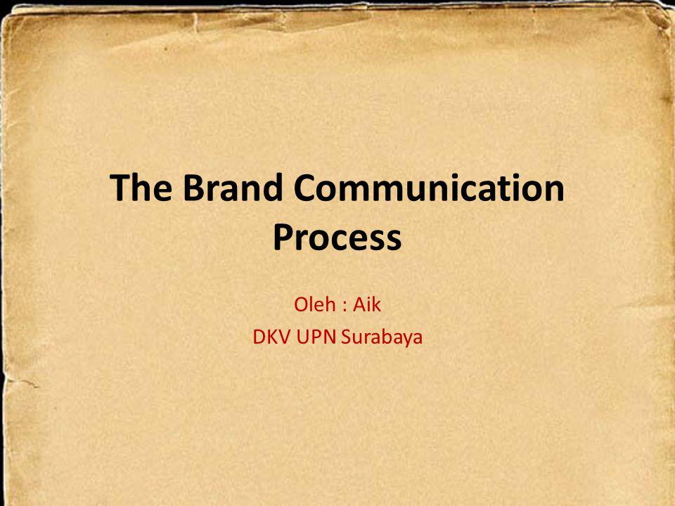The Brand Communication Process Oleh : Aik DKV UPN Surabaya