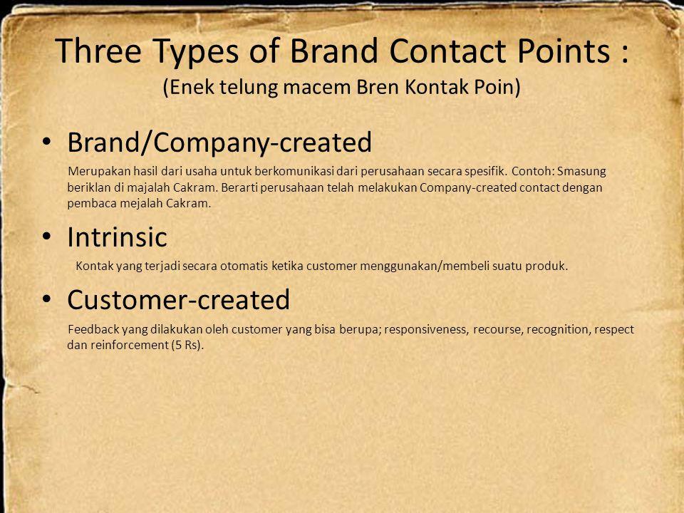Three Types of Brand Contact Points : (Enek telung macem Bren Kontak Poin) Brand/Company-created Merupakan hasil dari usaha untuk berkomunikasi dari p