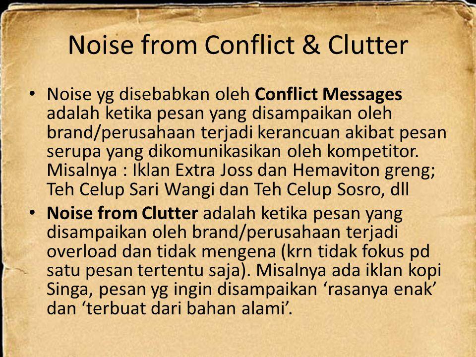 Noise from Conflict & Clutter Noise yg disebabkan oleh Conflict Messages adalah ketika pesan yang disampaikan oleh brand/perusahaan terjadi kerancuan