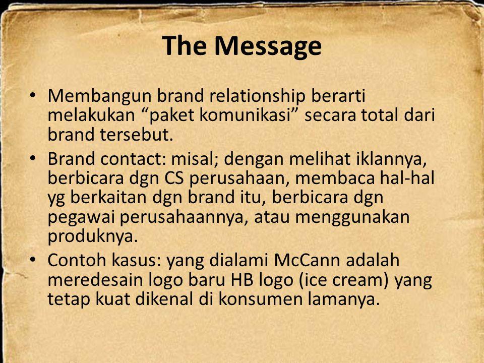 """The Message Membangun brand relationship berarti melakukan """"paket komunikasi"""" secara total dari brand tersebut. Brand contact: misal; dengan melihat i"""