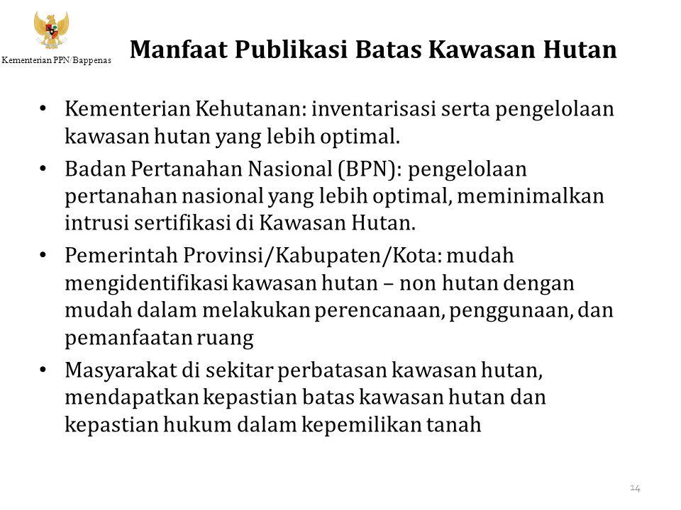 Kementerian PPN/Bappenas Manfaat Publikasi Batas Kawasan Hutan Kementerian Kehutanan: inventarisasi serta pengelolaan kawasan hutan yang lebih optimal