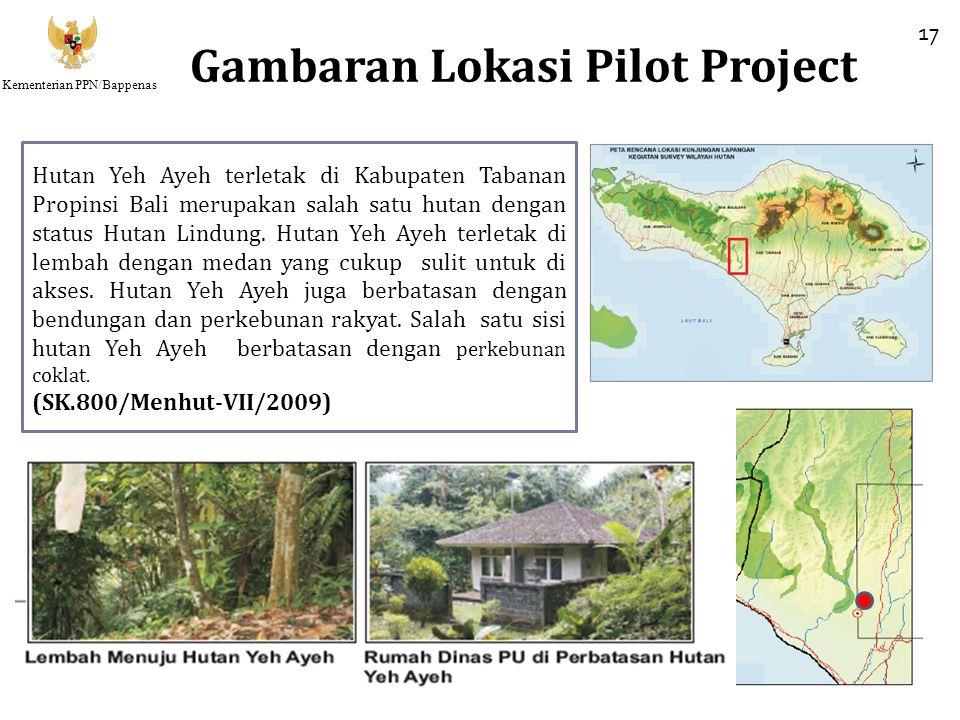 Kementerian PPN/Bappenas Gambaran Lokasi Pilot Project 17 Hutan Yeh Ayeh terletak di Kabupaten Tabanan Propinsi Bali merupakan salah satu hutan dengan