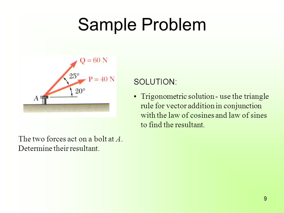 Sample Problem The two forces act on a bolt at A.Determine their resultant.