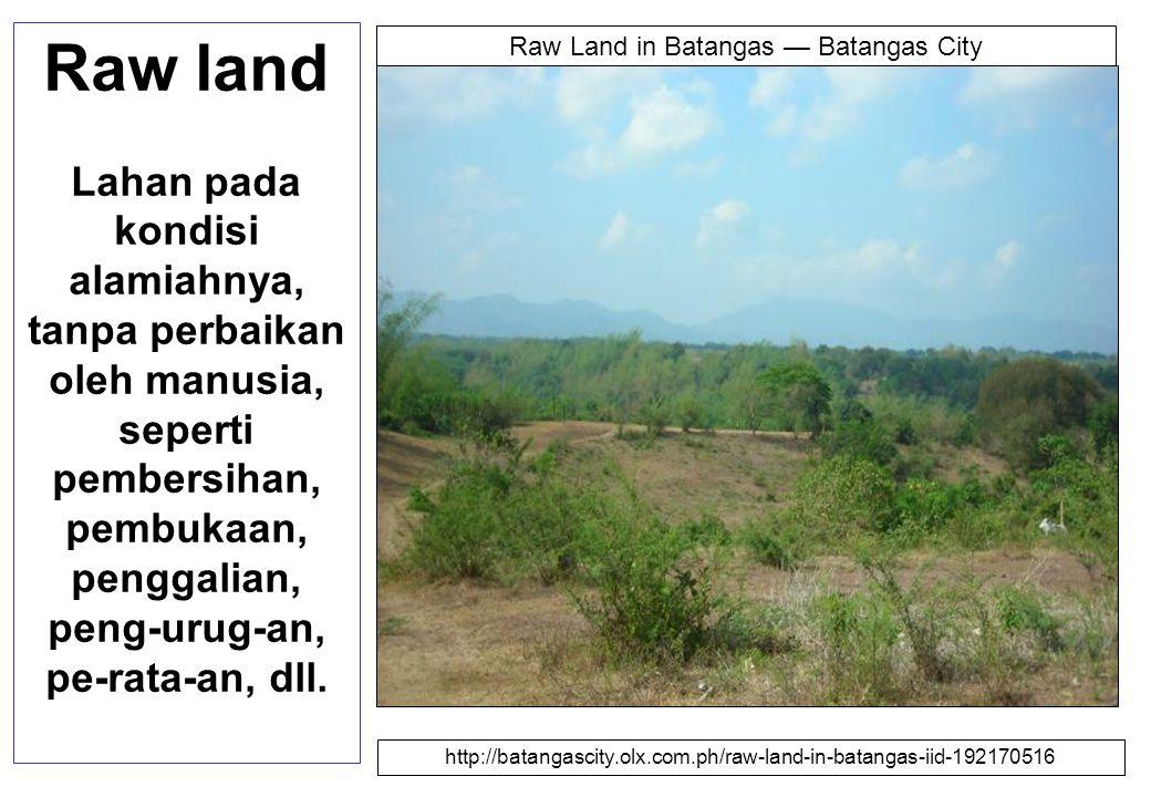 Raw land Lahan pada kondisi alamiahnya, tanpa perbaikan oleh manusia, seperti pembersihan, pembukaan, penggalian, peng-urug-an, pe-rata-an, dll.