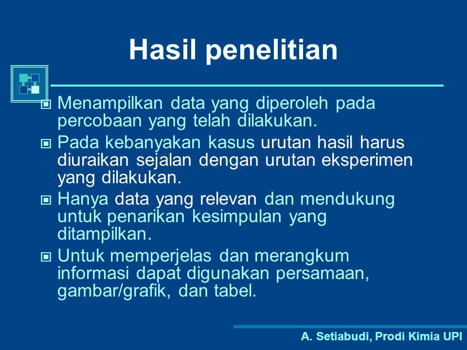 A. Setiabudi, Prodi Kimia UPI Hasil penelitian Menampilkan data yang diperoleh pada percobaan yang telah dilakukan. Pada kebanyakan kasus urutan hasil