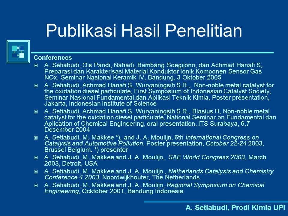 A.Setiabudi, Prodi Kimia UPI Publikasi Hasil Penelitian Conferences A.