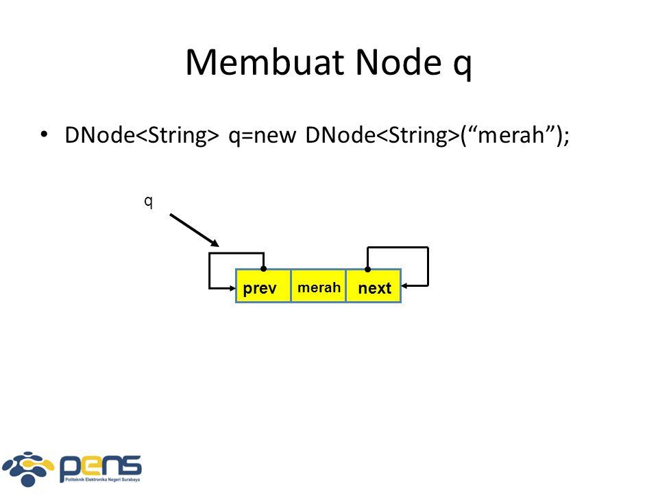 Membuat Node q DNode q=new DNode ( merah ); prevnext merah q