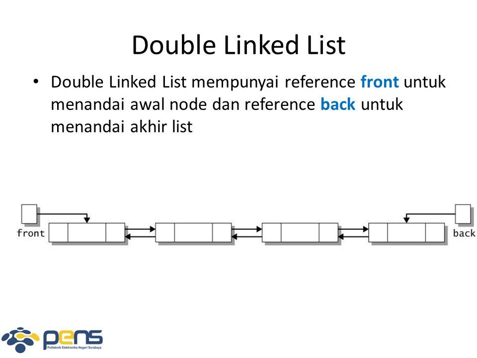 Membaca Mundur Double Linked List DNode curr = back ; String str = [ + curr.nodeValue; while(curr.prev != this) {curr = curr.prev; str += , + curr.nodeValue; } str += ] ; prevnext kuning prevnext hijau frontback prev merah curr next [hijau,kuning,merah ]