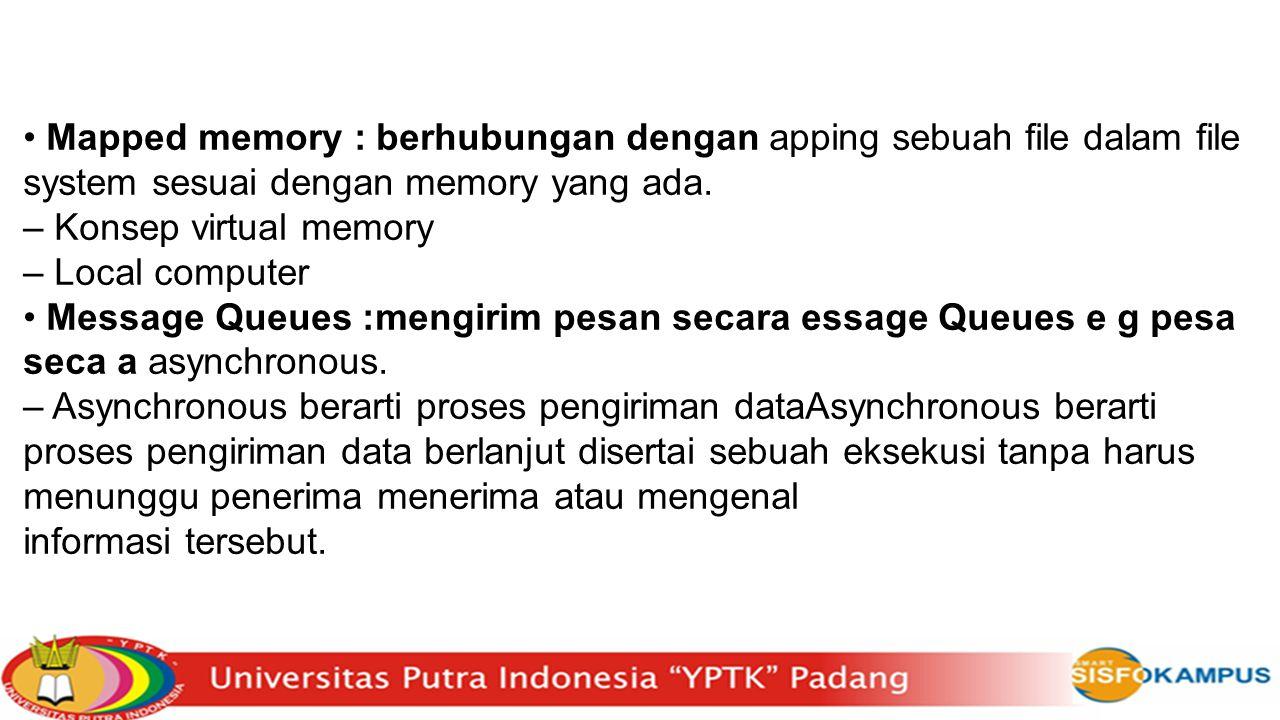 Mapped memory : berhubungan dengan apping sebuah file dalam file system sesuai dengan memory yang ada. – Konsep virtual memory – Local computer Messag
