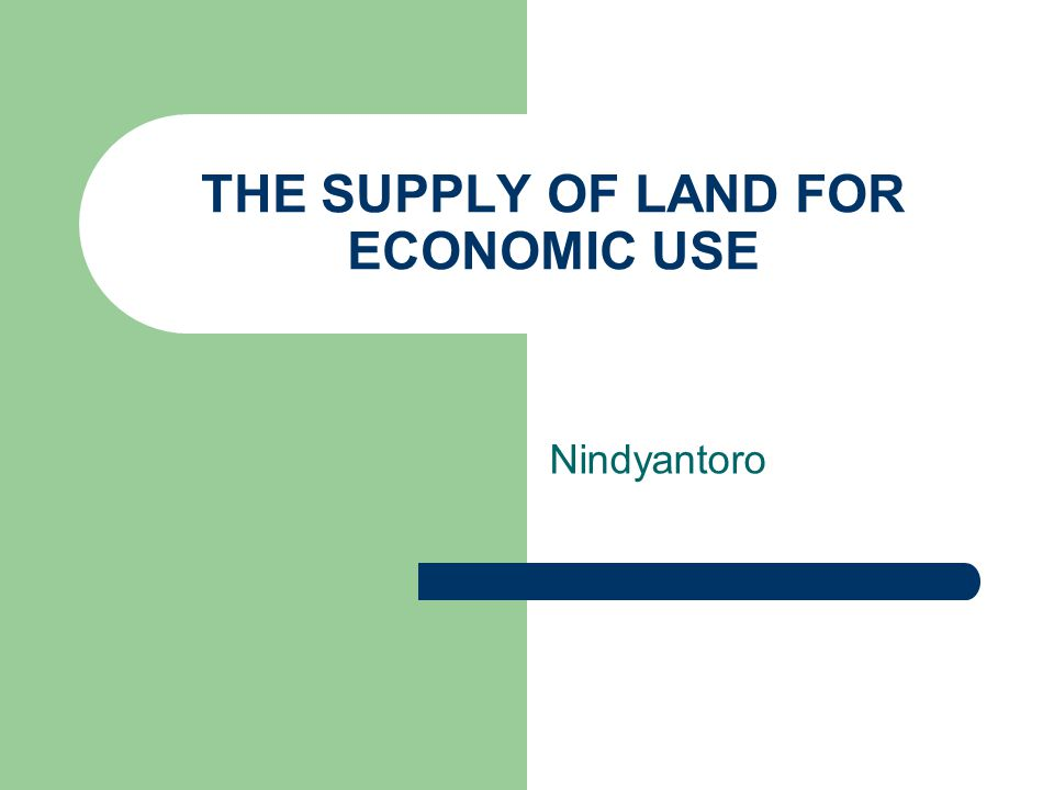 THE SUPPLY OF LAND FOR ECONOMIC USE Nindyantoro