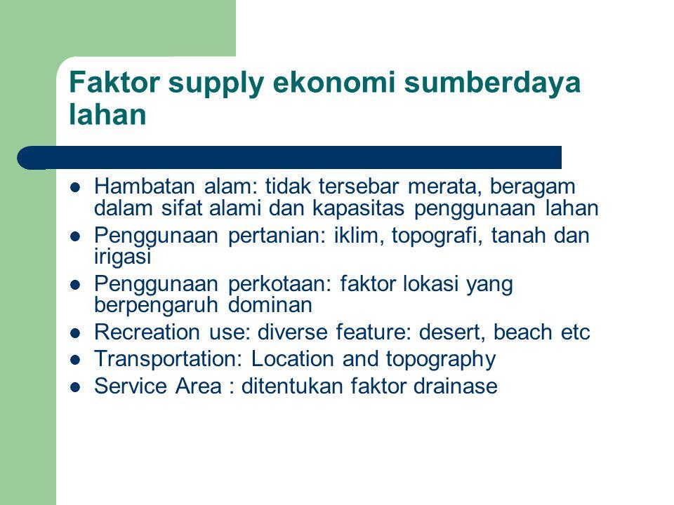 Faktor supply ekonomi sumberdaya lahan Hambatan alam: tidak tersebar merata, beragam dalam sifat alami dan kapasitas penggunaan lahan Penggunaan perta