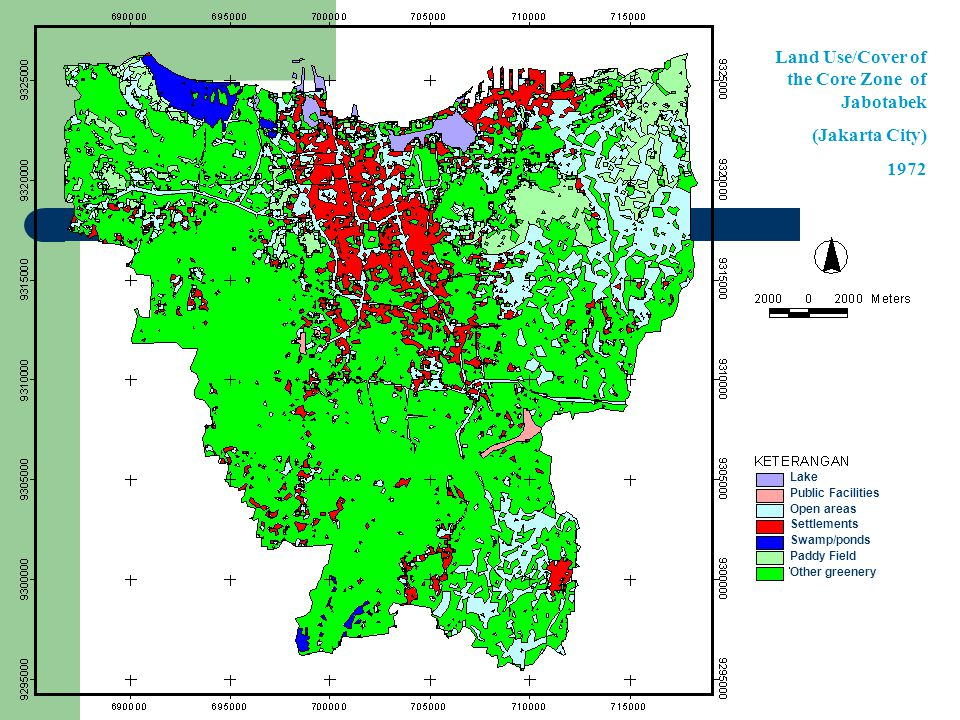 Land Use/Cover of the Core Zone of Jabotabek (Jakarta City) 1972 Lake Public Facilities Open areas Settlements Swamp/ponds Paddy Field Other greenery