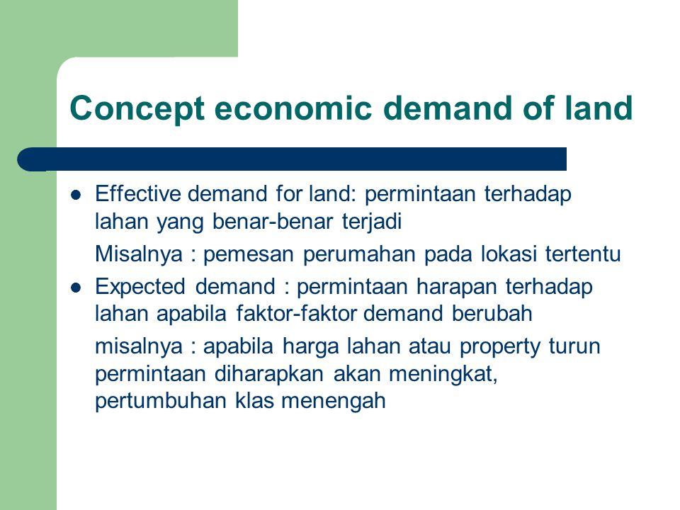Concept economic demand of land Effective demand for land: permintaan terhadap lahan yang benar-benar terjadi Misalnya : pemesan perumahan pada lokasi tertentu Expected demand : permintaan harapan terhadap lahan apabila faktor-faktor demand berubah misalnya : apabila harga lahan atau property turun permintaan diharapkan akan meningkat, pertumbuhan klas menengah