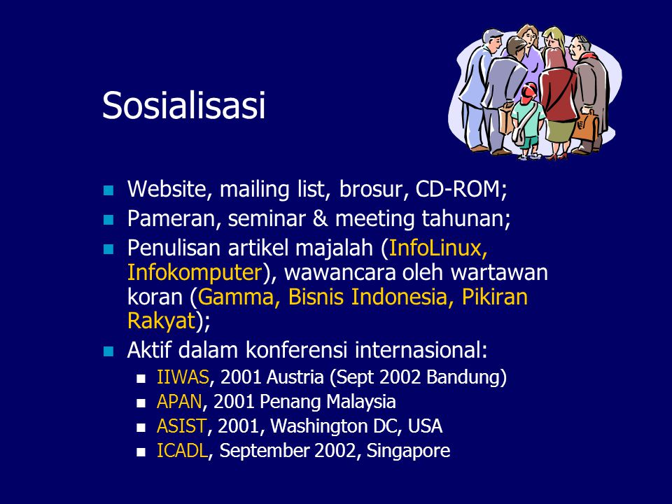 Sub Network (rencana): Agriculture Network Group of Farmers B Group of Farmers A Group of Researchers AgriHub Server IndonesiaDLN Hub Server Other Subnetworks in IndonesiaDLN Agriculture Information Network (sub-network) ETD, Heritage, Health, Human Rights, etc OAI Access: Internet Café & Dial-up
