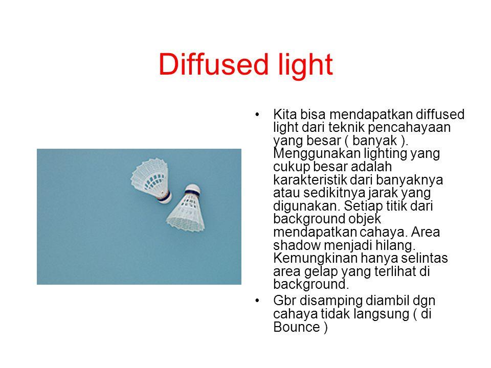 Diffused light Kita bisa mendapatkan diffused light dari teknik pencahayaan yang besar ( banyak ). Menggunakan lighting yang cukup besar adalah karakt
