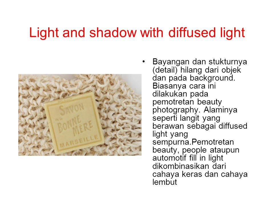 Light and shadow with diffused light Bayangan dan stukturnya (detail) hilang dari objek dan pada background. Biasanya cara ini dilakukan pada pemotret