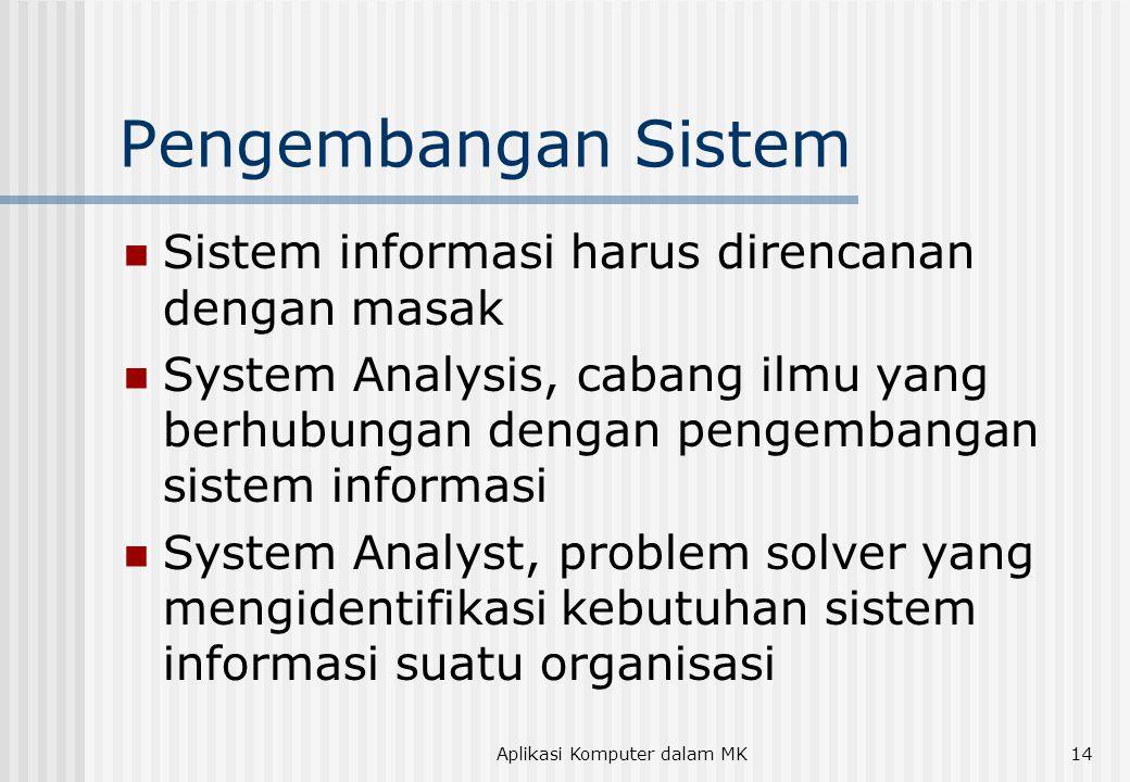 Aplikasi Komputer dalam MK14 Pengembangan Sistem Sistem informasi harus direncanan dengan masak System Analysis, cabang ilmu yang berhubungan dengan p