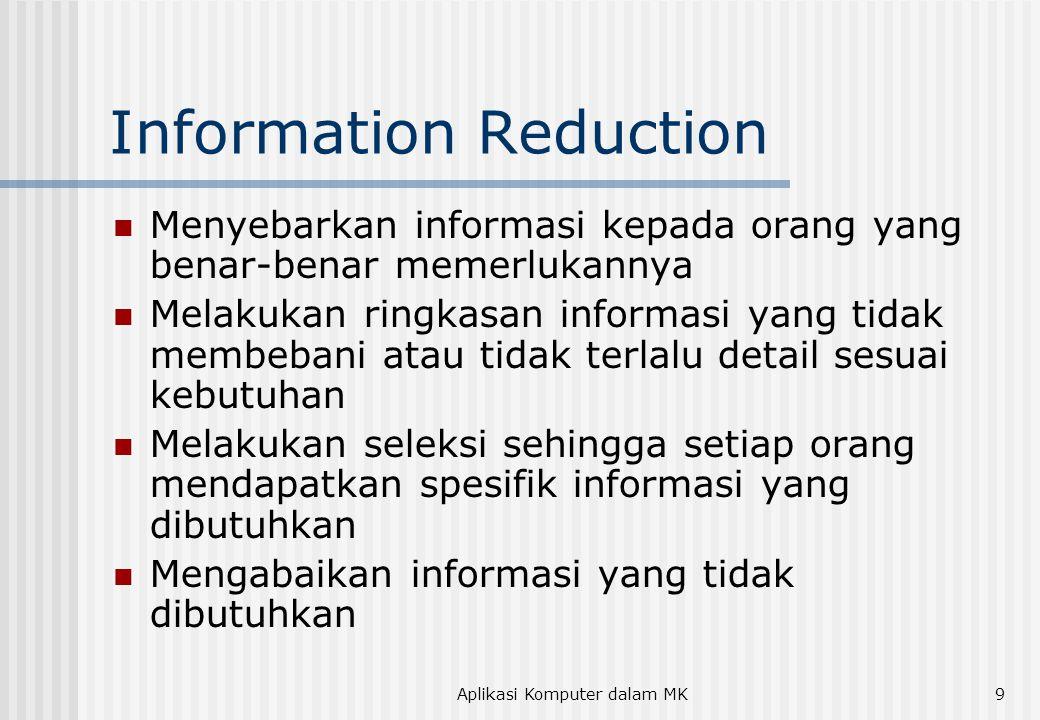 Aplikasi Komputer dalam MK9 Information Reduction Menyebarkan informasi kepada orang yang benar-benar memerlukannya Melakukan ringkasan informasi yang