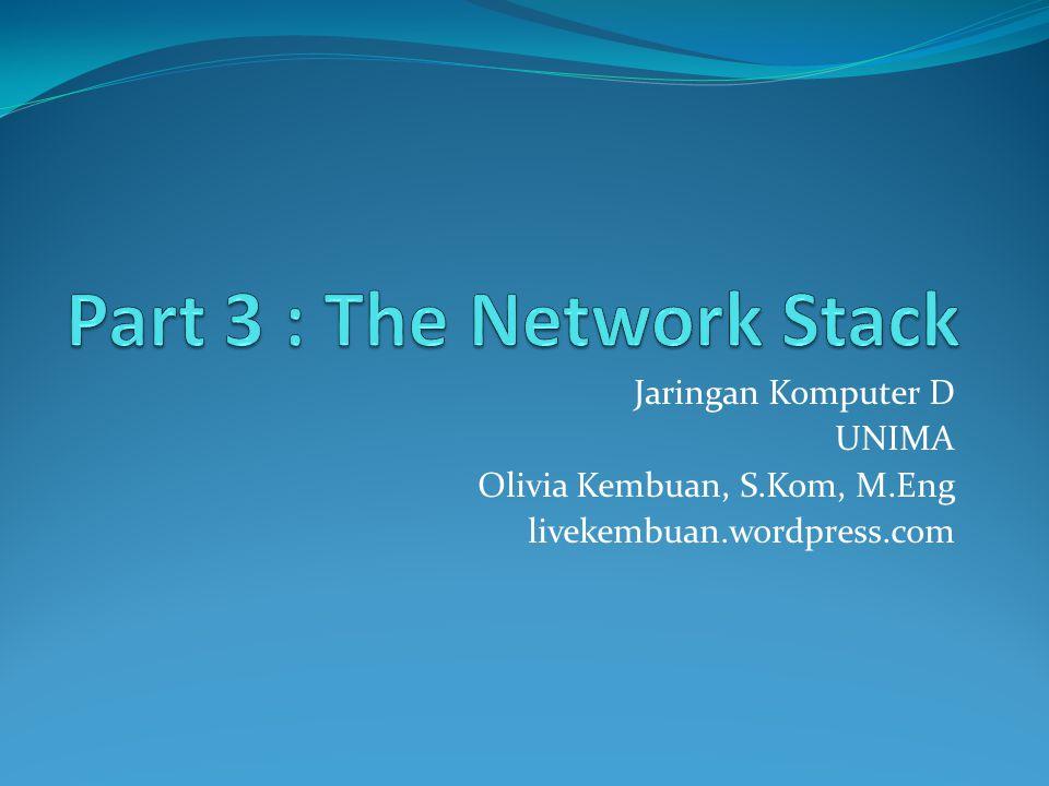 Introduction : Network Stack Network stack (Level pada jaringan) merujuk kepada model arsitektural yang digunakan untuk menggambarkan proses transmisi dari satu sistem komputer ke sistem yang lain dalam suatu jaringan.
