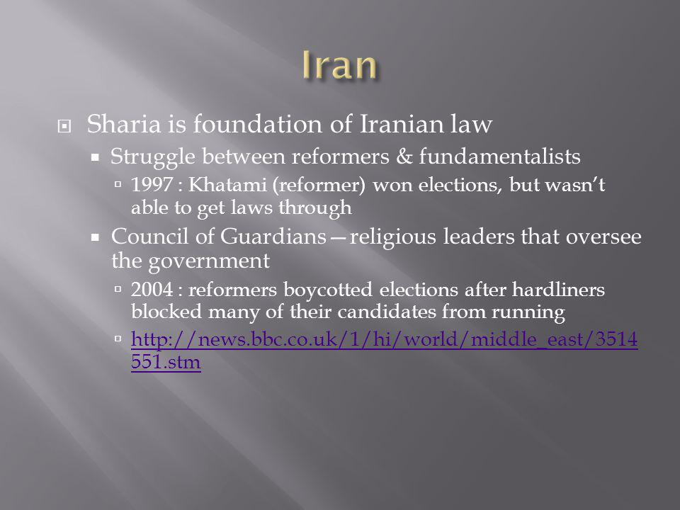  Sharia is foundation of Iranian law  Struggle between reformers & fundamentalists  1997 : Khatami (reformer) won elections, but wasn't able to get