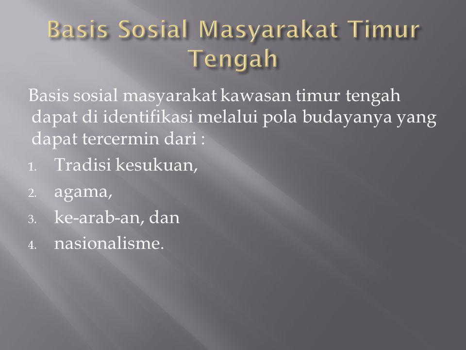 Basis sosial masyarakat kawasan timur tengah dapat di identifikasi melalui pola budayanya yang dapat tercermin dari : 1.