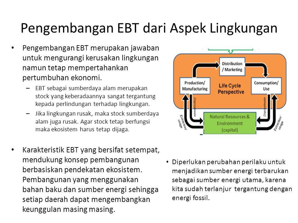 Pengembangan EBT dari Aspek Lingkungan Pengembangan EBT merupakan jawaban untuk mengurangi kerusakan lingkungan namun tetap mempertahankan pertumbuhan ekonomi.