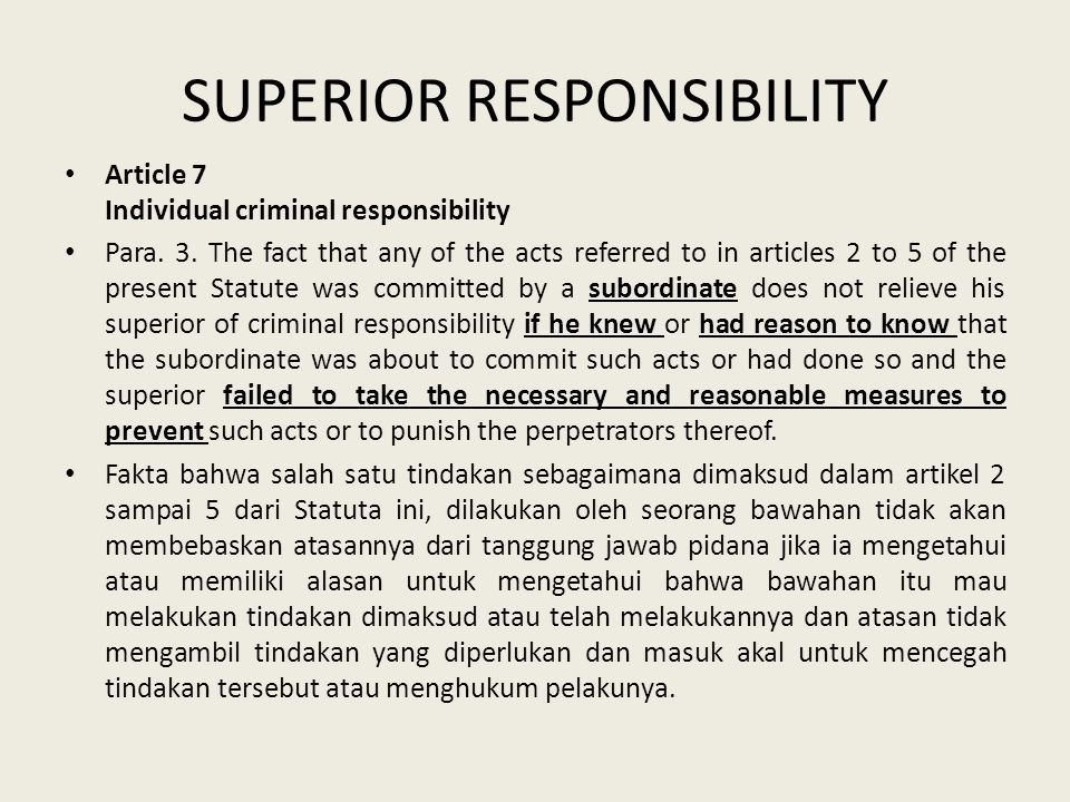 SUPERIOR RESPONSIBILITY Article 7 Individual criminal responsibility Para.