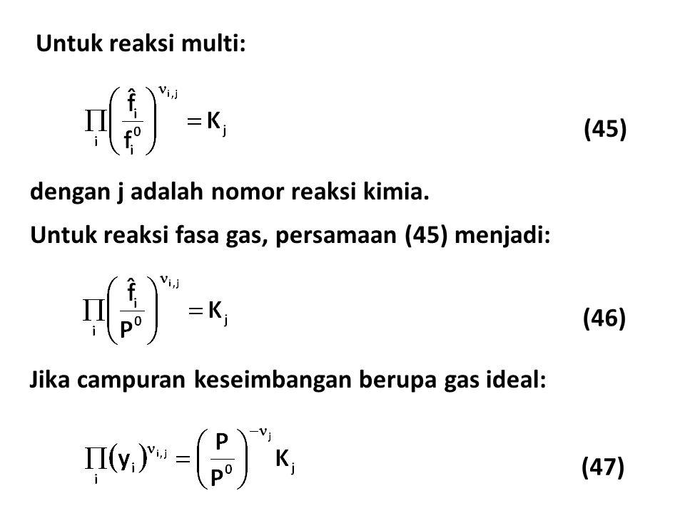 (45) Untuk reaksi multi: dengan j adalah nomor reaksi kimia.