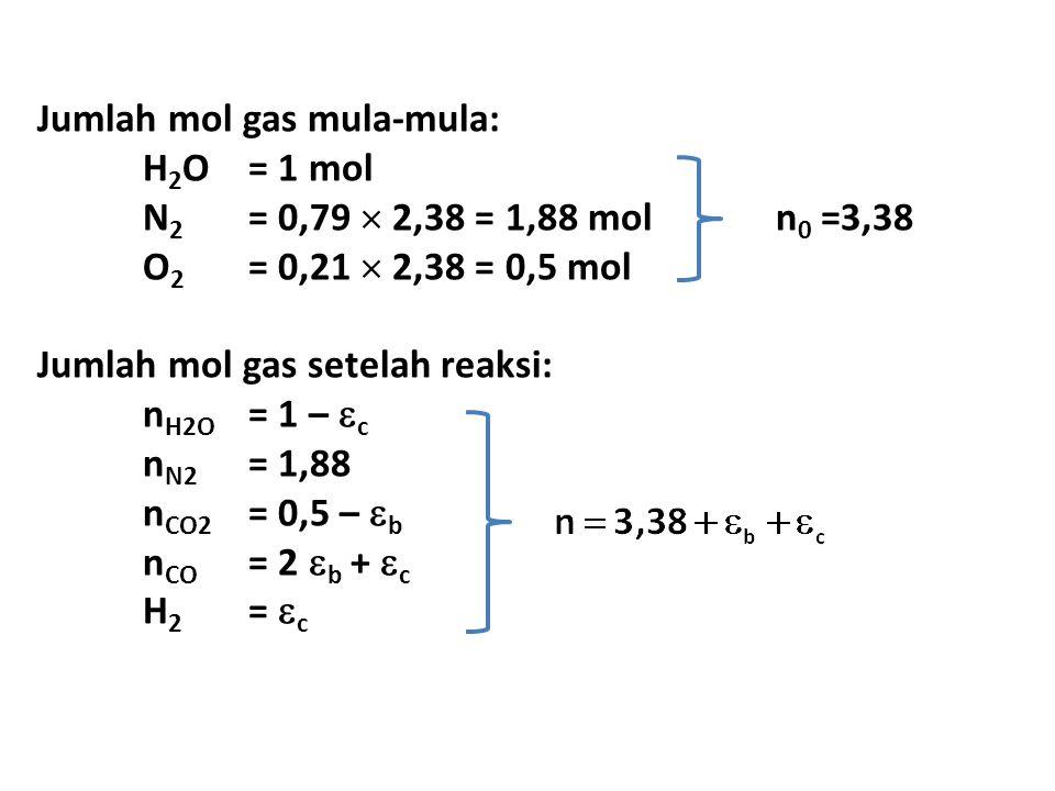 Jumlah mol gas mula-mula: H 2 O= 1 mol N 2 = 0,79  2,38 = 1,88 mol n 0 =3,38 O 2 = 0,21  2,38 = 0,5 mol Jumlah mol gas setelah reaksi: n H2O = 1 –  c n N2 = 1,88 n CO2 = 0,5 –  b n CO = 2  b +  c H 2 =  c