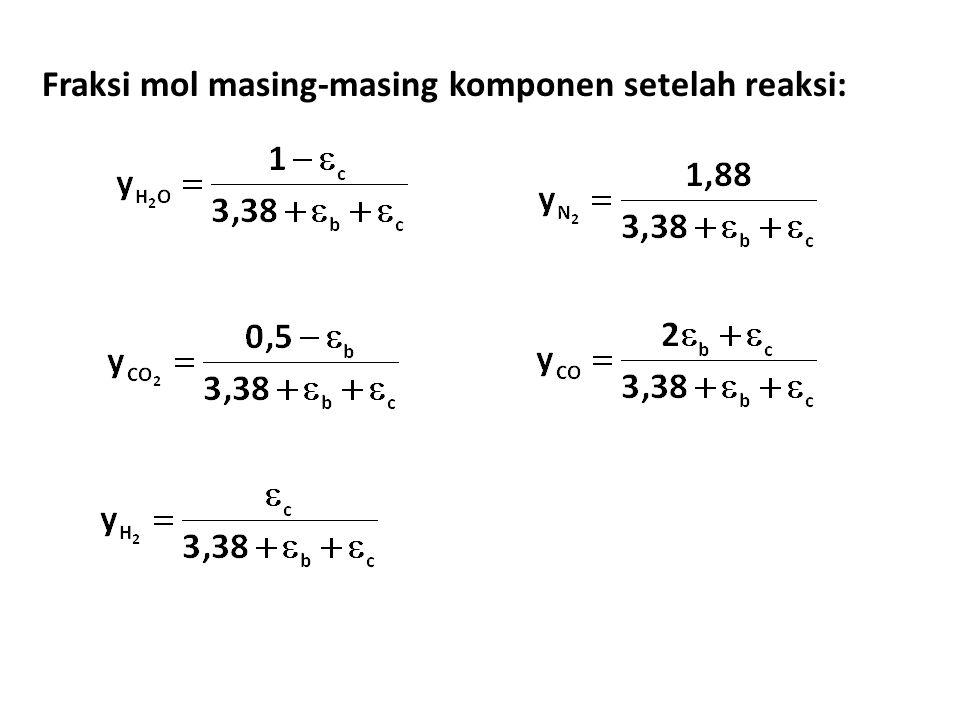 Fraksi mol masing-masing komponen setelah reaksi: