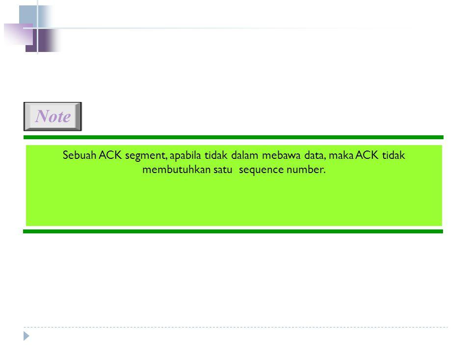 Sebuah ACK segment, apabila tidak dalam mebawa data, maka ACK tidak membutuhkan satu sequence number.