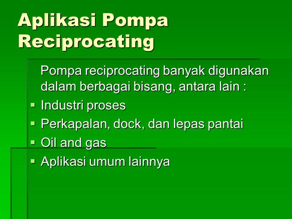 Aplikasi Pompa Reciprocating Pompa reciprocating banyak digunakan dalam berbagai bisang, antara lain : Pompa reciprocating banyak digunakan dalam berbagai bisang, antara lain :  Industri proses  Perkapalan, dock, dan lepas pantai  Oil and gas  Aplikasi umum lainnya