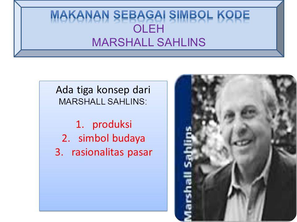 Ada tiga konsep dari MARSHALL SAHLINS: 1.produksi 2.simbol budaya 3.rasionalitas pasar Ada tiga konsep dari MARSHALL SAHLINS: 1.produksi 2.simbol buda