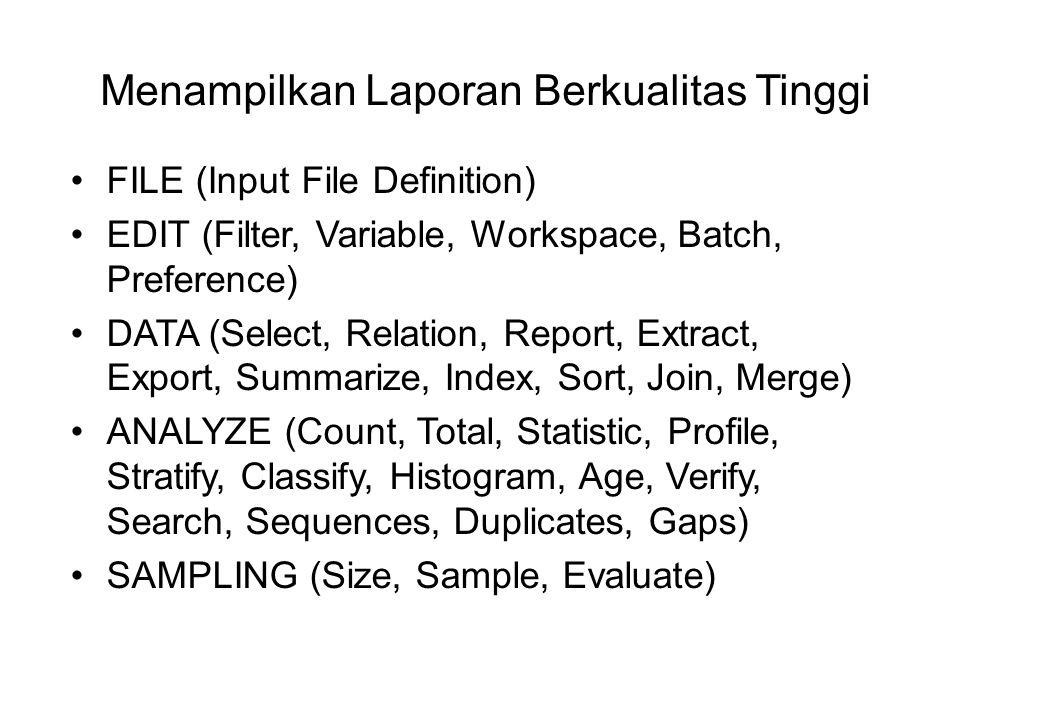 Mampu Mengekspor Hasil Ke Berbagai Macam Tipe Data PLAIN TEXT (TXT) DBASE III (DBF) DELIMITED (DEL) EXCEL (XLS) LOTUS (WKS) WORD (DOC) WORD PERFECT (WP)