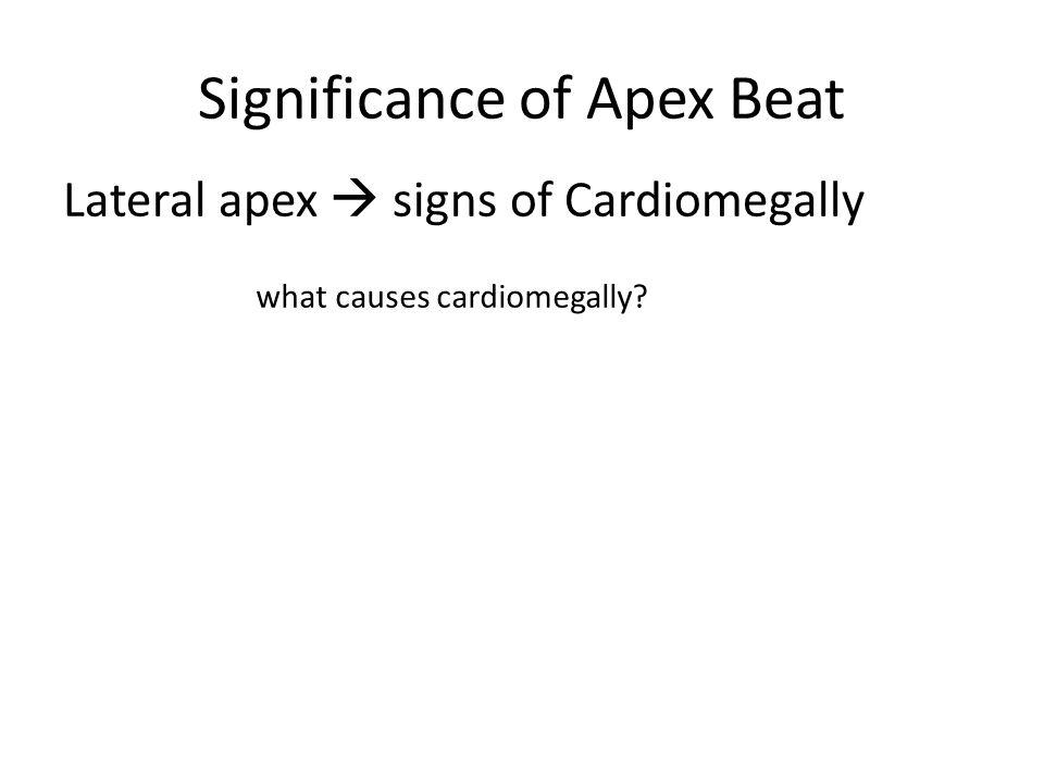 Significance of Apex Beat Lateral apex  signs of Cardiomegally what causes cardiomegally?