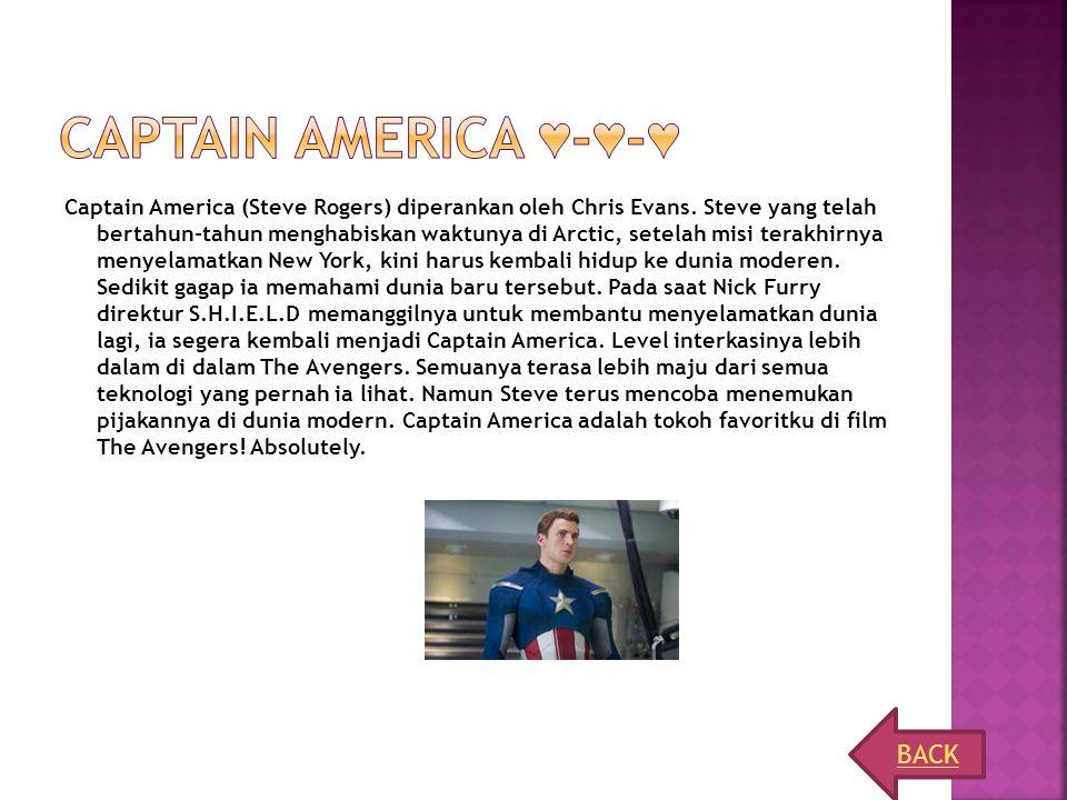 Captain America (Steve Rogers) diperankan oleh Chris Evans. Steve yang telah bertahun-tahun menghabiskan waktunya di Arctic, setelah misi terakhirnya