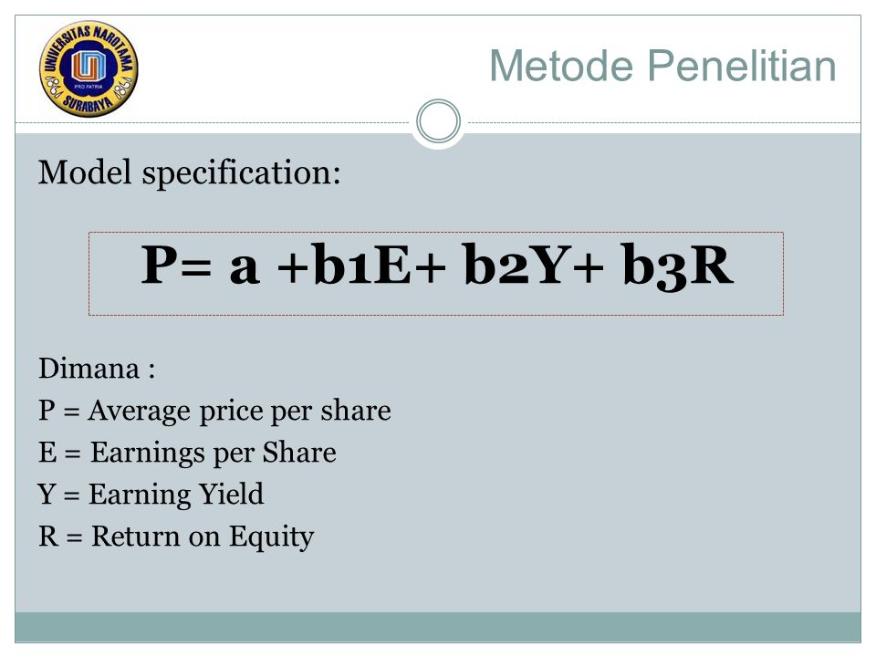 Metode Penelitian Model specification: P= a +b1E+ b2Y+ b3R Dimana : P = Average price per share E = Earnings per Share Y = Earning Yield R = Return on