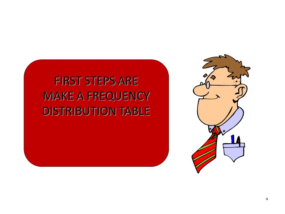 4 FIRST STEPS ARE MAKE A FREQUENCY DISTRIBUTION TABLE